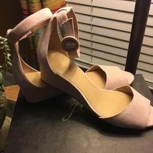 NWB J Crew Laila Suede Wedges Tan/ Lite Pink Size8